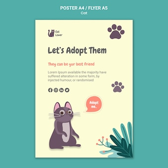 Cat adoption poster template