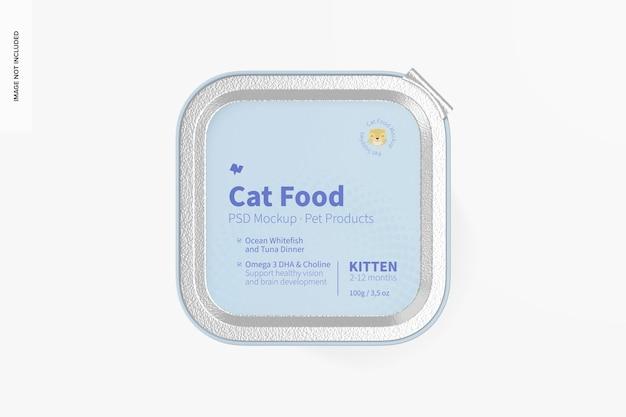 Mockup di cibo per gatti, vista dall'alto