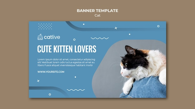 Cat lover banner template design