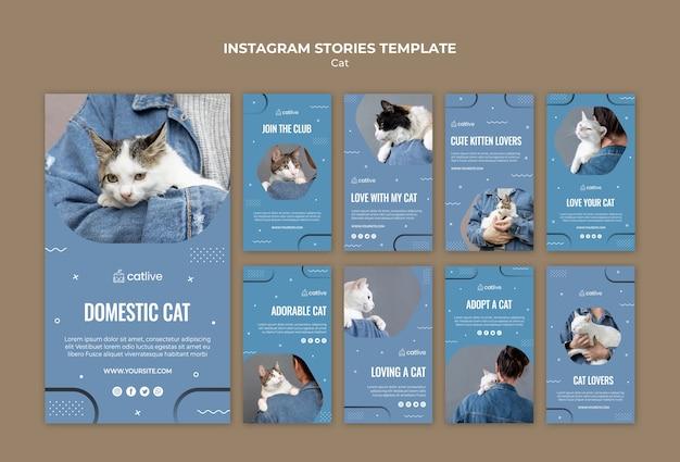 Cat lover concept instagram stories