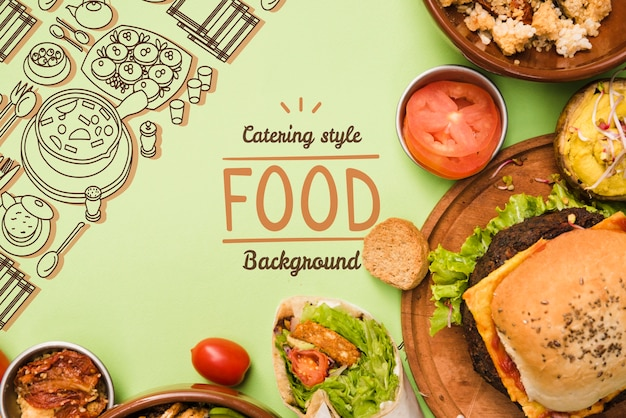 Catering food background with copy space