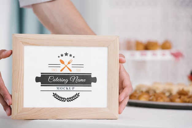 Catering name on wooden frame