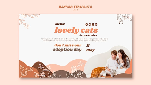 Cats banner template concept