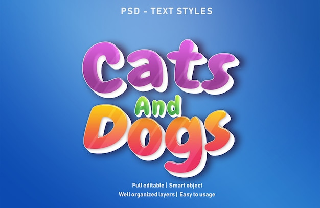Cats and dog text effects style editable psd