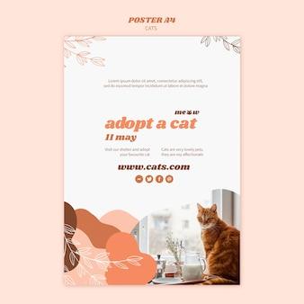 Концепция шаблона плаката кошек