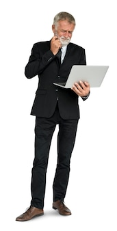 Caucasian Business Man Frustrated Laptop Concept