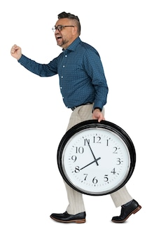Caucasian man rushing clock