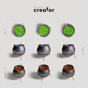 Cauldrons variety of angles halloween scene creator