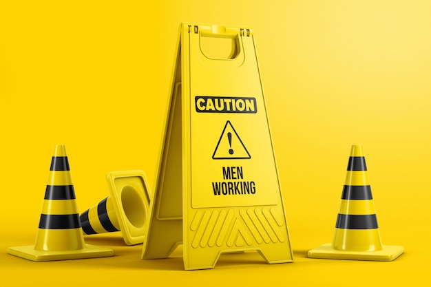 Caution portable floor sign with traffic cones mockup