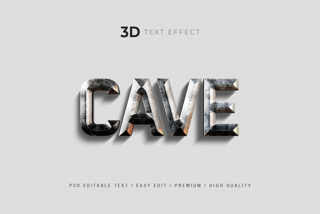 Cave 3d text style effect mockup