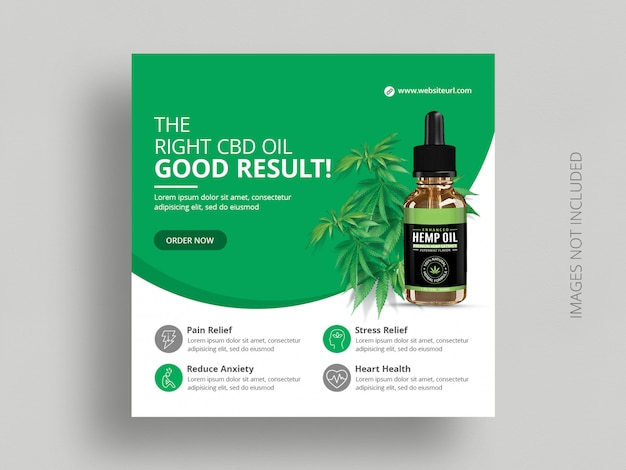 Cbd oil social media banner template