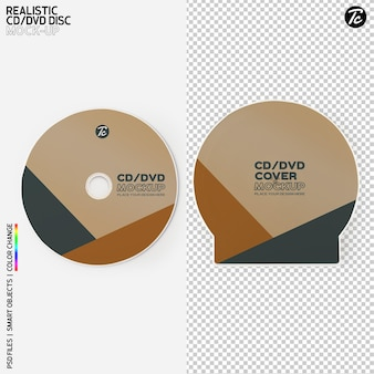 Cd disc and cd box cover mockup design isolated