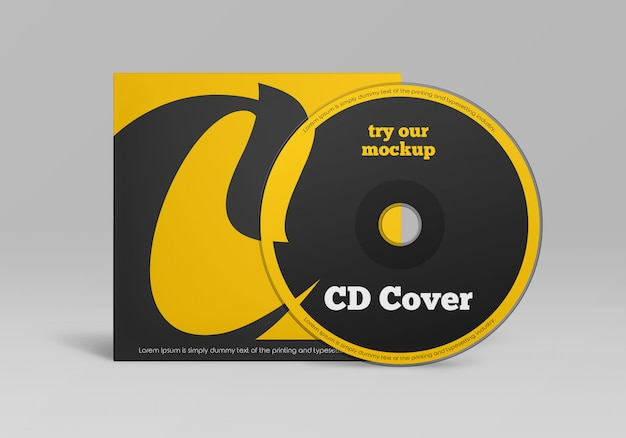 Cd disc cover mockup design