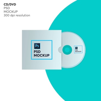 Cd disc with cover mockup