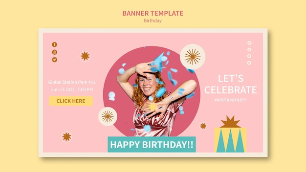 Celebrate birthday banner template