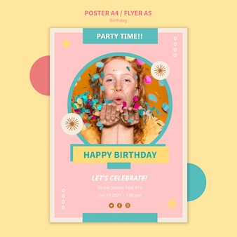 Шаблон флаера для празднования дня рождения