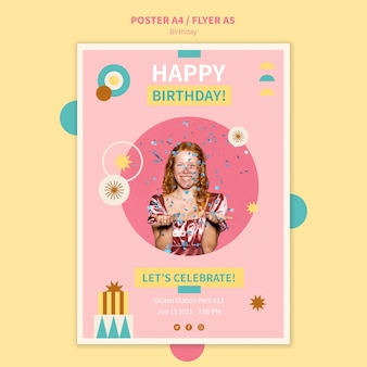 Шаблон плаката для празднования дня рождения