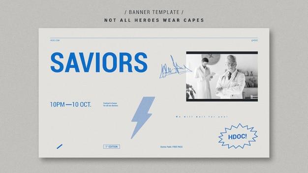 Celebrating doctors horizontal banner design