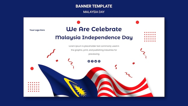 말레이시아 독립 기념일 배너 웹 템플릿 축하