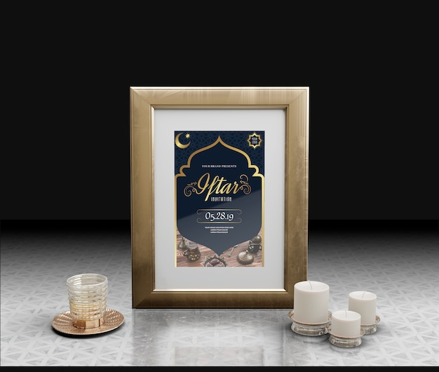 Celebration of arabic new year with frame and candle
