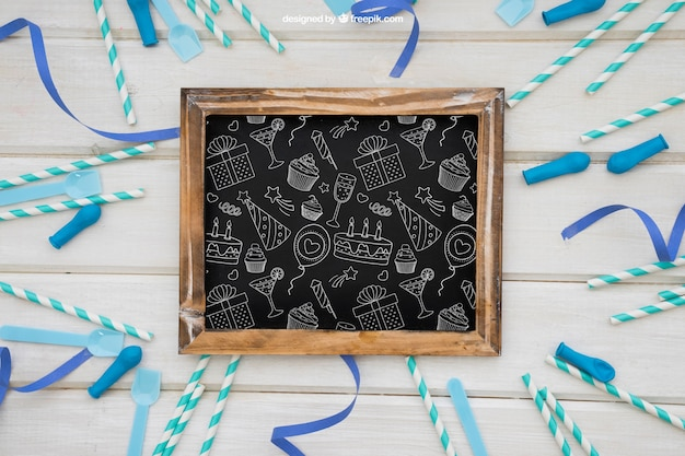 Celebration decoration with slate and sticks