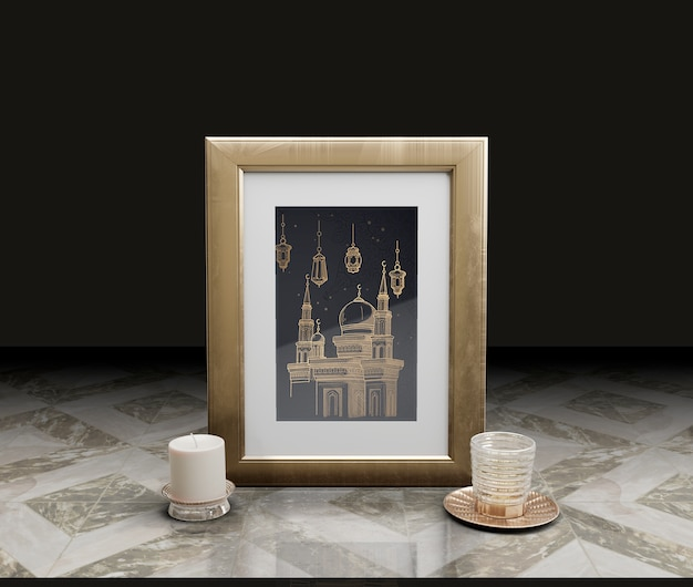 Celebration of islamic new year with frame and candle