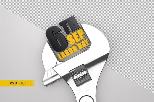 Празднование дня труда 6 сентября 3d-концепция с ручным гаечным ключом