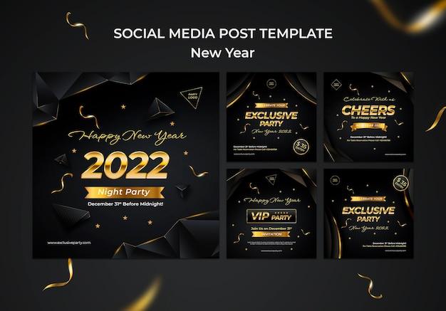 Collezione di post ig celebrativi per il nuovo anno
