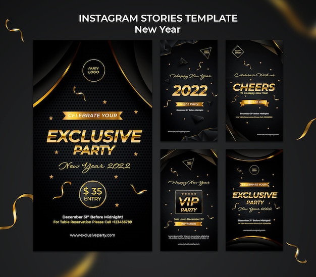 Celebrative new year ig stories collection