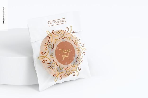 Cellophane cookie bag mockup, left view