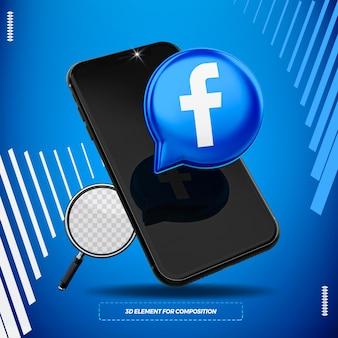構成のために分離された3dfacebookアイコンと携帯電話