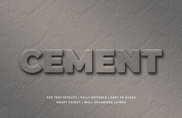 Cement 3d text style effect