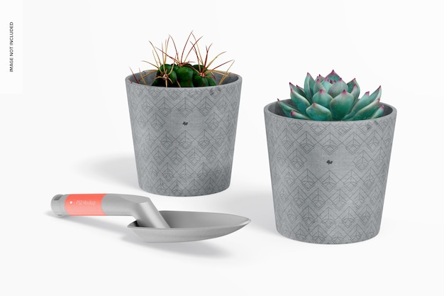 Cement pots with shovel mockup