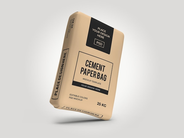Cement sack paper bag 3d mockup template isolated psd