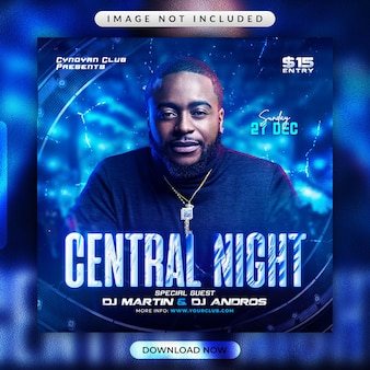 Central night party flyer or social media banner template