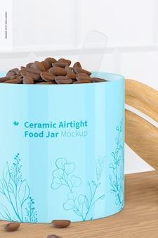 Ceramic airtight food jar mockup, close up