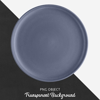 Ceramic blue round plate on transparent background