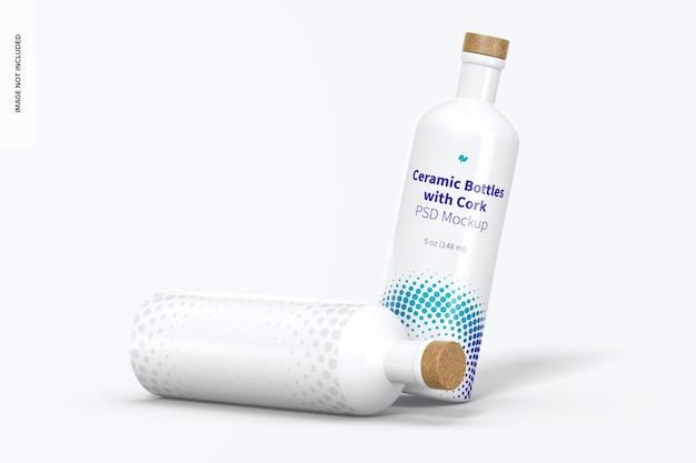 Ceramic bottles with cork mockup, dropped