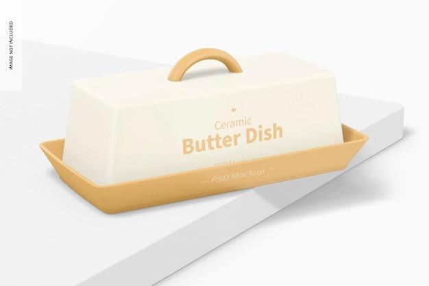 Mockup di piatto di burro in ceramica