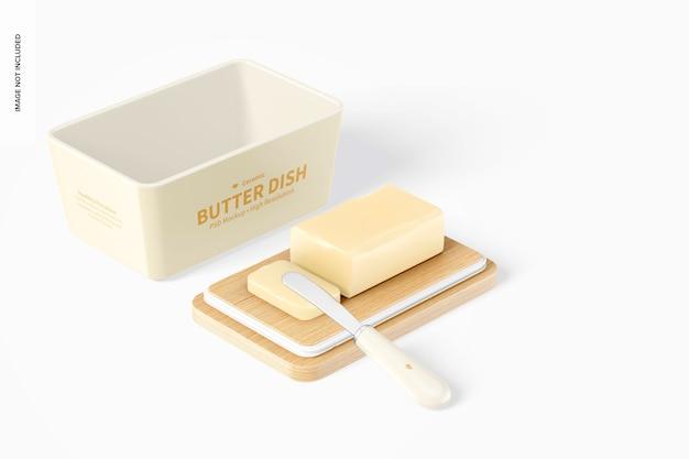 Керамическая масленка с бамбуковой крышкой, макет