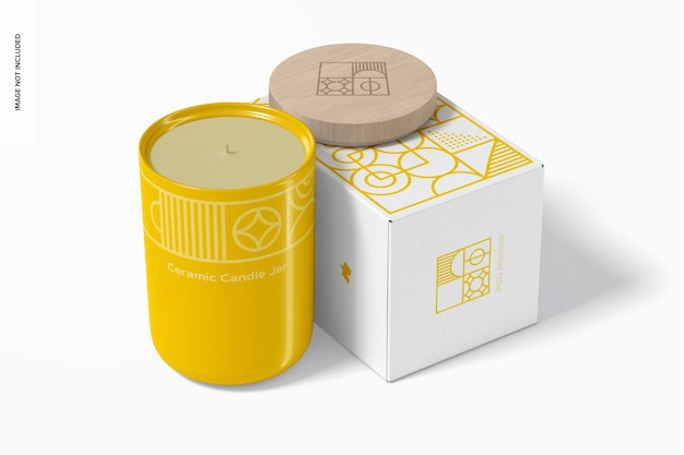 Ceramic candle jar with box mockup, perspective view