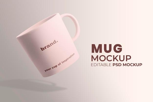 ピンクのミニマルデザインのセラミックコーヒーマグモックアップpsd