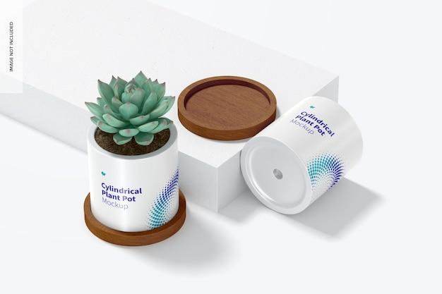 セラミック円筒形植木鉢モックアップ、ドロップ