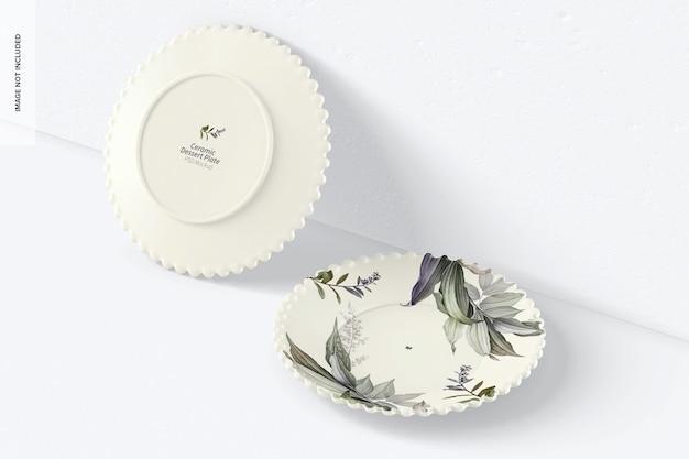 Керамическая тарелка для десерта, вид в перспективе