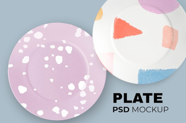 Ceramic dishes mockup psd in abstract patterned design