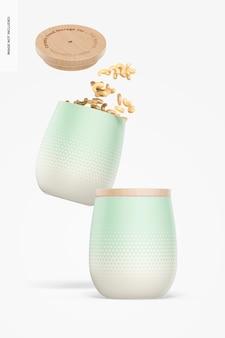 Ceramic food storage jars mockup, falling