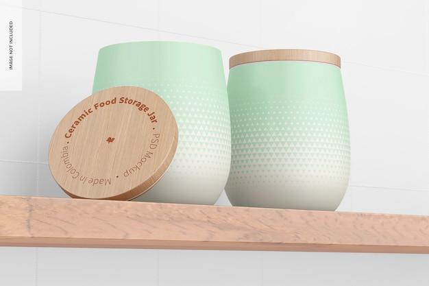 Керамический макет банок для хранения продуктов, вид под низким углом