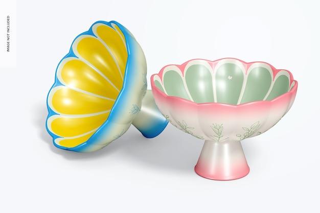 Mockup di ciotole con piedi in ceramica, vista da sinistra
