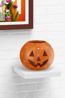 Керамический макет тыквы на хэллоуин, на полке