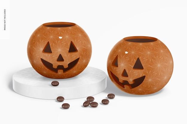 Керамический макет тыквы на хэллоуин, вверх и вниз